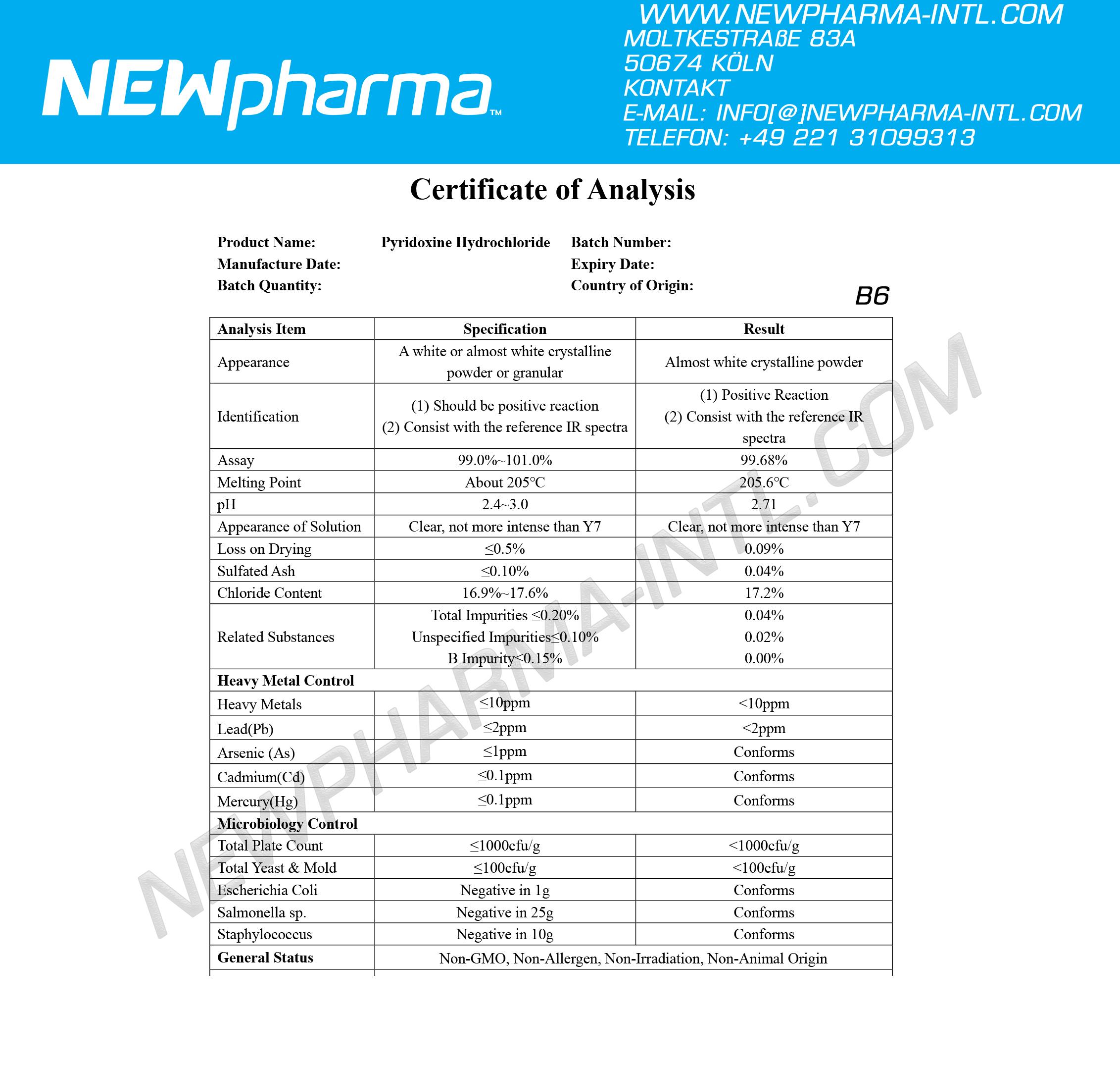 NEWPHARMA-Pyridoxine-Hydrochloride-B6